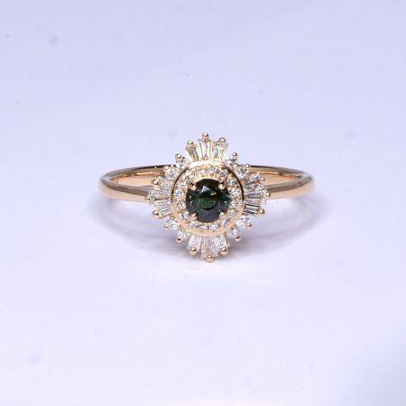 Natural Alexandrite Ring - Art Deco Alexandrite Ring 18K Rose Gold