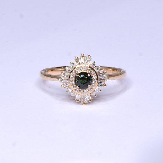Natural Alexandrite Ring - Art Deco Alexandrite Ring 18K Rose Gold - 1982399