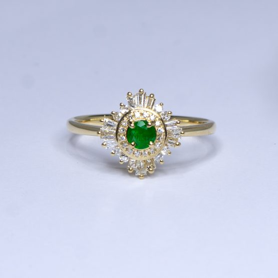 18K Yellow Gold Colombian Emerald Engagement Ring Art Deco Style - 1982400