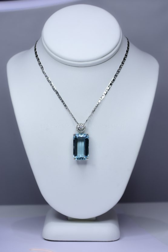 Emerald Cut Aquamarine Pendant - 1982404-1