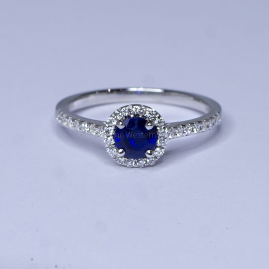 Natural Blue Sapphire Ring Sapphire Diamond Halo Ring 18K Gold - 1982403