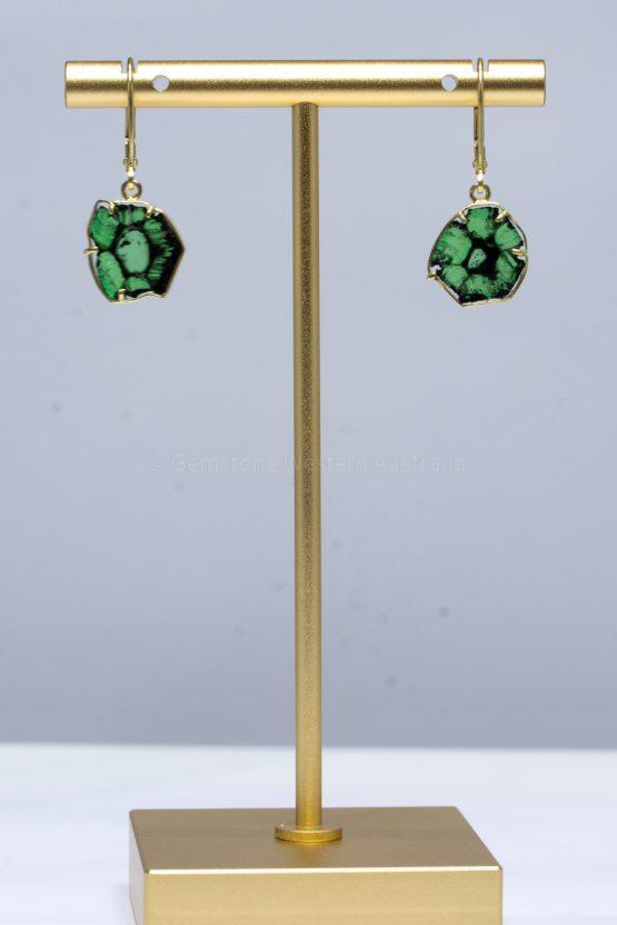 Trapiche Emerald Earrings - Colombian Emerald Dangling Earrings 18K Gold - 1982397