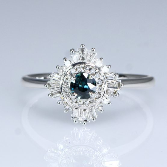 Natural Teal Sapphire Ring - Teal Sapphire Diamond Halo Ring - 1982398-4