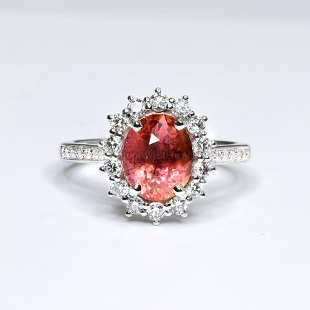 Natural Padparadscha Sapphire Ring with Diamond Halo 18ct Gold