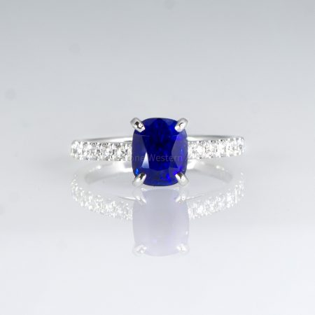 2.67ct Natural Sapphire Ring Solitaire Sapphire Engagement Ring 18K White Gold