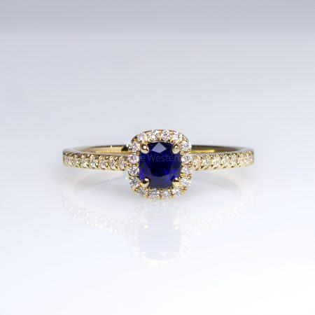 Natural Blue Sapphire Ring Diamond Halo in 18K Yellow Gold