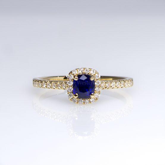 Sapphire Ring Diamond Halo in 18K Yellow Gold - 1982405