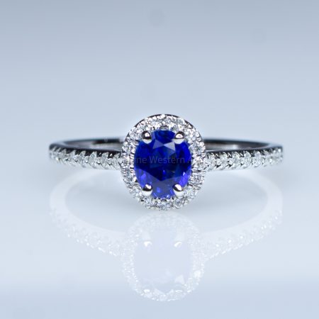Natural Oval Blue Sapphire Ring Sapphire Diamond Halo Ring 18K Yellow Gold