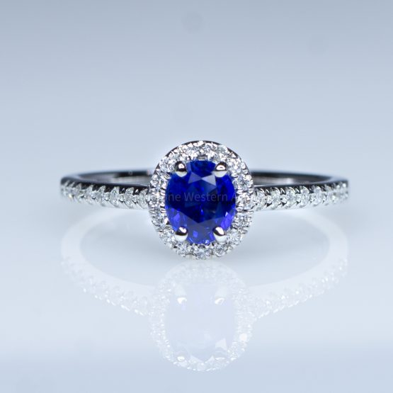 Natural Oval Blue Sapphire Ring Sapphire Diamond Halo Ring 18K Yellow Gold - 1982406