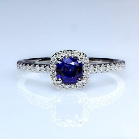 Natural Sapphire Engagement Ring Royal Blue Sapphire Diamond Ring 18K White Gold