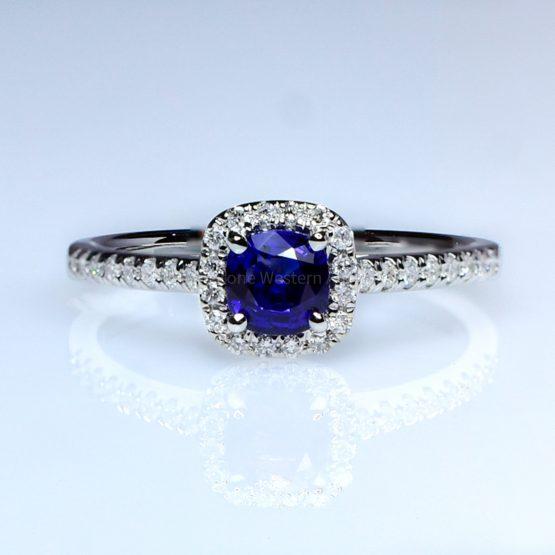 Natural Sapphire Engagement Ring Royal Blue Sapphire Diamond Ring 18K White Gold - 1982407-2