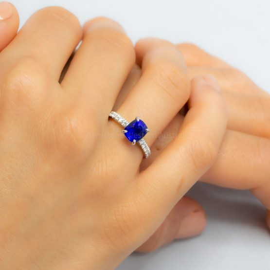 2.67ct Natural Sapphire Ring Solitaire Sapphire Engagement Ring 18K White Gold - 1982408-4