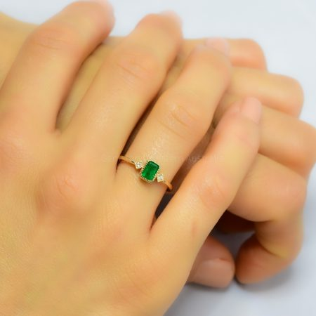Natural Colombian Emerald Three-Stone Ring in Yellow Gold