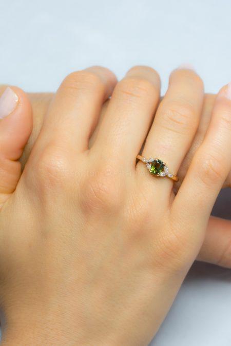 Genuine Natural Alexandrite Ring Alexandrite Diamond Ring 18K Gold
