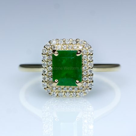 1.15ct Colombian Emerald Ring Emerald Cut Halo Ring 18K Gold