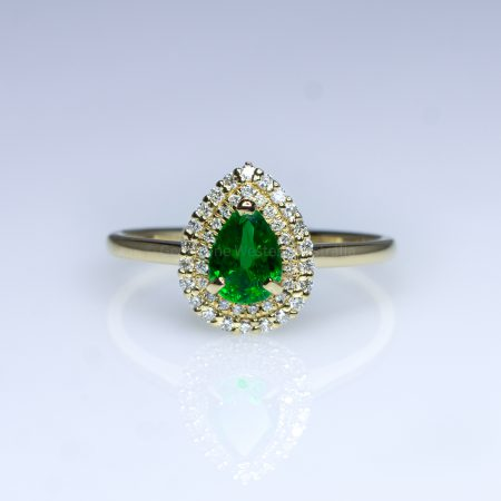 Natural Colombian Emerald Ring Emerald Double Halo Ring 18K Gold