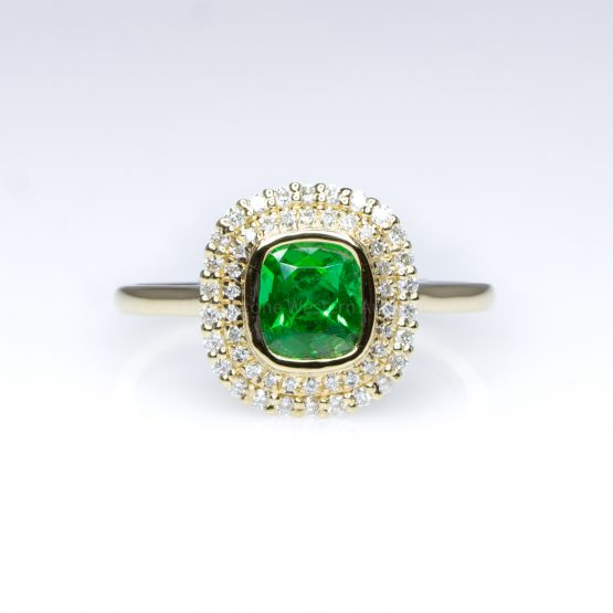 Colombian Emerald Halo Ring Double Halo Engagement Dress Ring 18K - 1982411-6