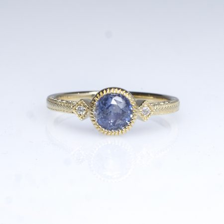 1 Carat Natural Unheated Sapphire Diamonds Ring 14K Gold