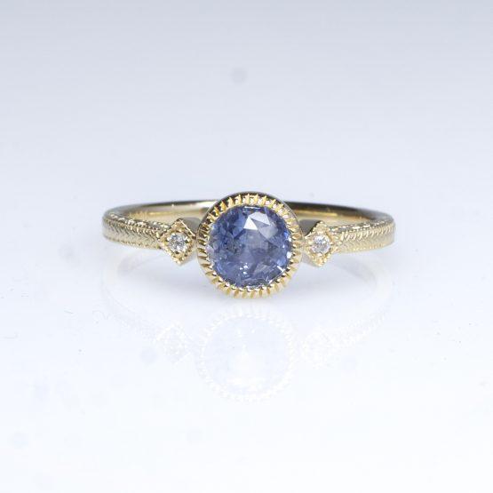 1 Carat Natural Unheated Sapphire Diamonds Ring 14K Gold - 1982417