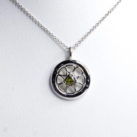 Round Design Natural Alexandrite Pendant in 18K White Gold Alexandrite pendant and Chain