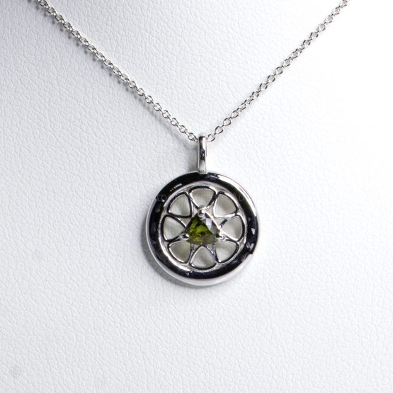 Round Design Natural Alexandrite Pendant in 18K White Gold Alexandrite pendant and Chain - 1982416-1