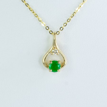 Natural Colombian Emerald and Diamond Pendant 18K Gold