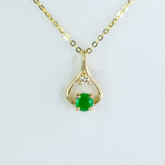 Natural Colombian Emerald and Diamond Pendant 18K Gold - 1982419-1