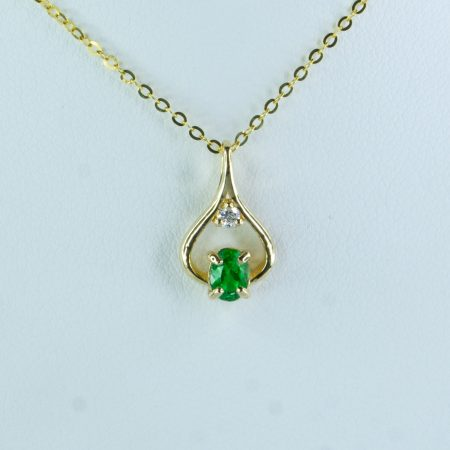Natural Colombian Emerald Diamond Pendant Necklace in 18K Yellow Gold