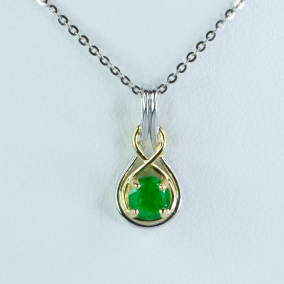 Natural Colombian Emerald Pendant Necklace in 18K Two Tone Gold - 1982421-1