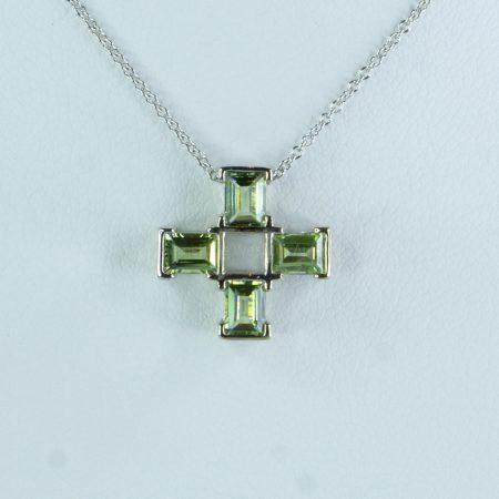 Natural Sapphire Pendant Sapphire Cross Pendant in 18k Gold
