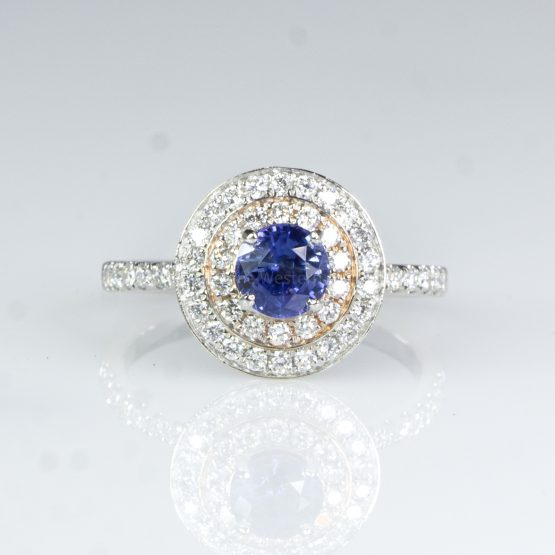 Natural Blue Sapphire Diamond Halo Ring Sapphire Double Halo Ring - 1982431