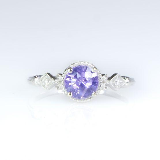 1 Carat Violet Sapphire Ring Violet Sapphire Diamond Ring - 1982427