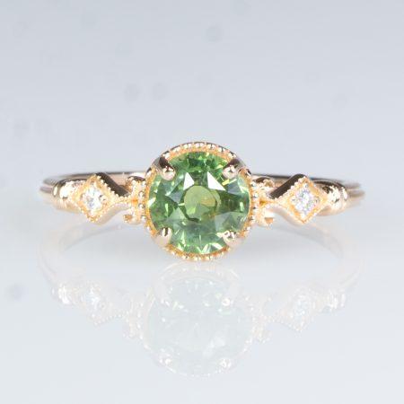 1 Carat Green Sapphire Ring Green Sapphire Diamond Ring