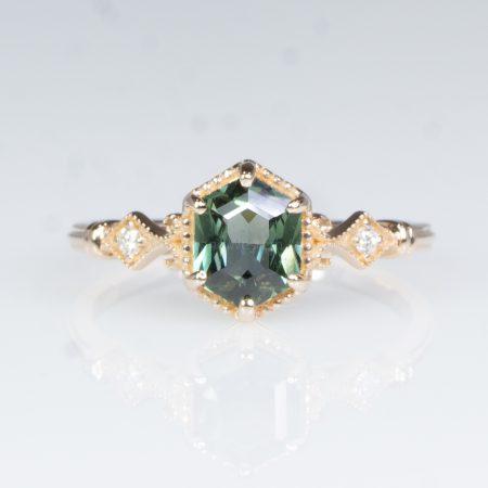 Hexagon Teal Sapphire and Diamonds Ring