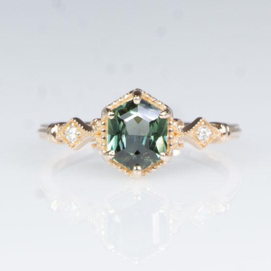 Hexagon Teal Sapphire and Diamonds Ring - 1982428