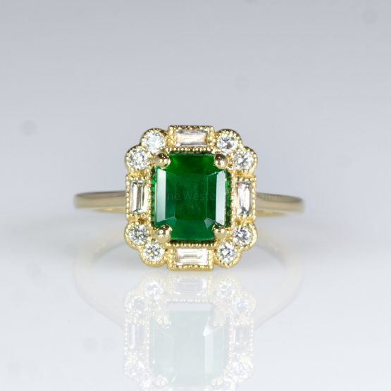 Art Deco Style Colombian Emerald Ring Emerald and Diamond Dress / Statement Ring - 1982429