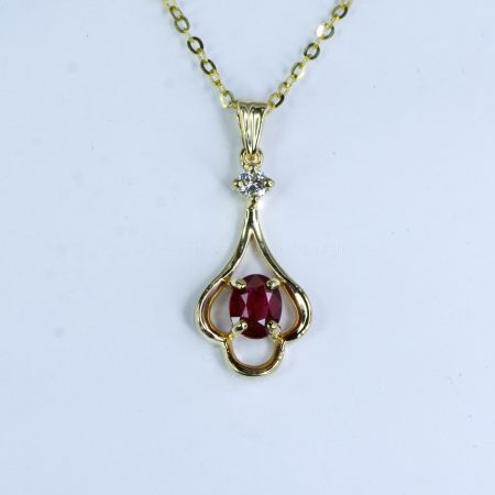 Natural Ruby and Diamond Pendant Necklace in 18K Yellow Gold