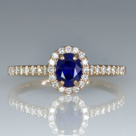 Natural Unheated Blue Sapphire Ring Sapphire Diamond Halo Ring in 18K Rose Gold