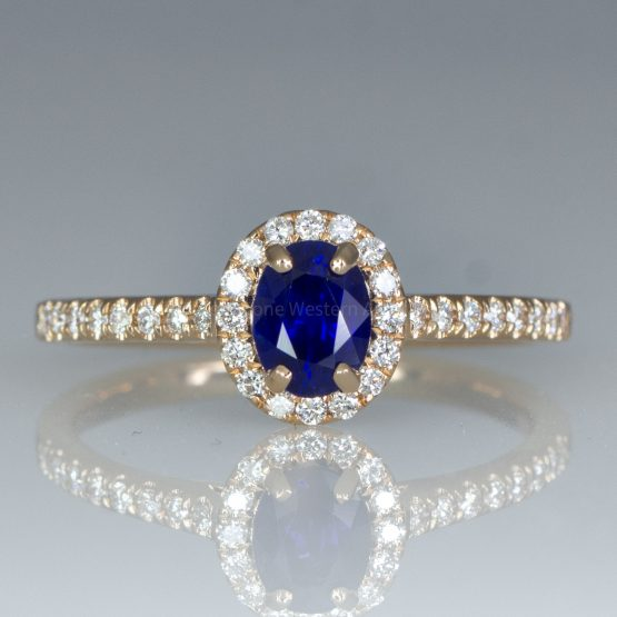 Natural Unheated Blue Sapphire Ring Diamond Halo Ring in 18K Rose Gold - 1982433