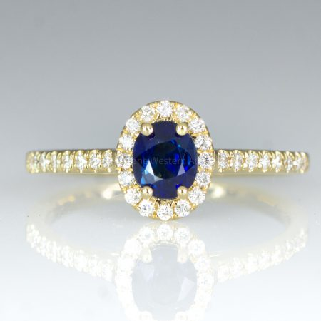 Natural Unheated Blue Sapphire Ring Sapphire Diamond Halo Ring in 18K Yellow Gold
