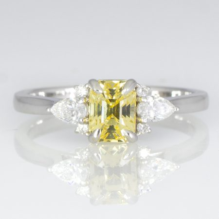 Natural Unheated Yellow Sapphire and Diamonds Ring Ceylon Yellow Sapphire Ring in White Gold