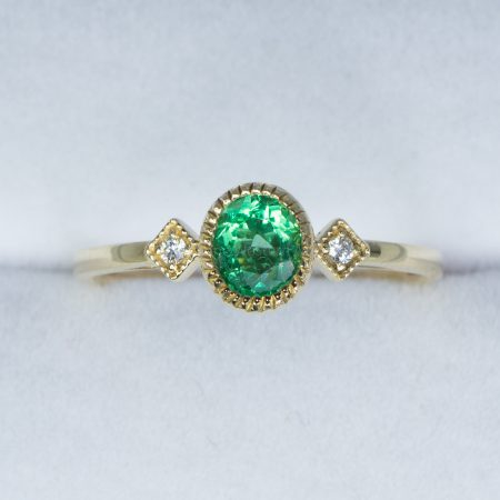 Colombian Emerald and Diamonds Ring Three Stone Natural Emerald Ring in Yellow Gold