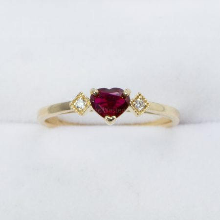 Heart Shape Ruby and Diamond Ring in Yellow Gold