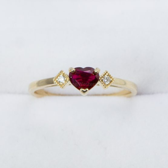 Heart Shape Ruby and Diamond Ring in Yellow Gold - 1982436-2