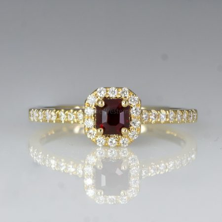 Natural Ruby Diamond Ring Ruby Halo Engagement Ring 18K Gold