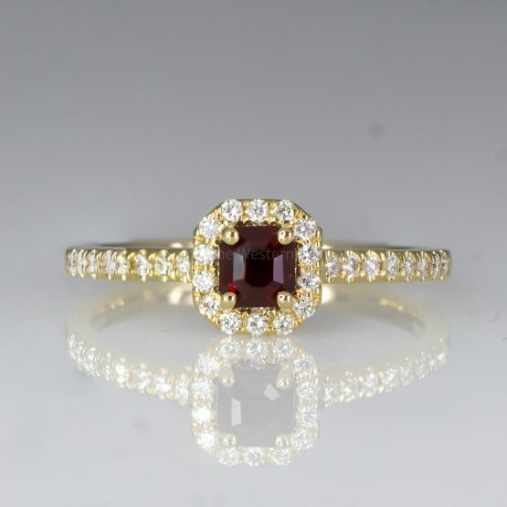 Natural Ruby Diamond Ring Ruby Halo Engagement Ring 18K Gold - 1982434-5