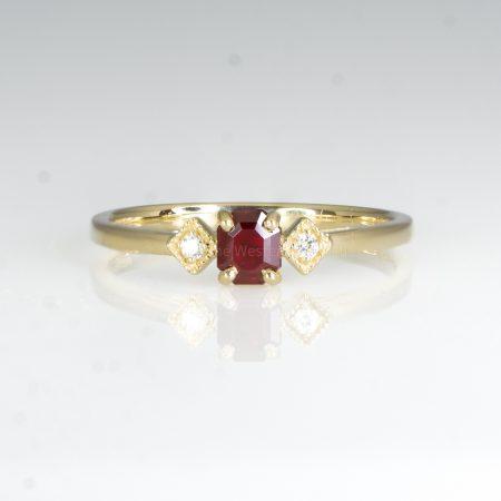 Ruby and Diamond Ring Three Stone Ring Petite Minimal Thin Ring in Yellow Gold