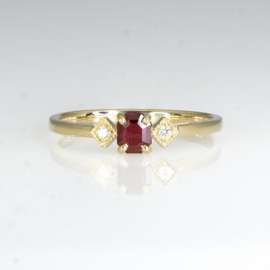 Ruby and Diamond Ring Three Stone Ring Petite Minimal Thin Ring in Yellow Gold - 1982435-2