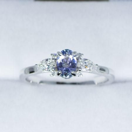 Violet Blue Sapphire and Diamond Ring in White Gold