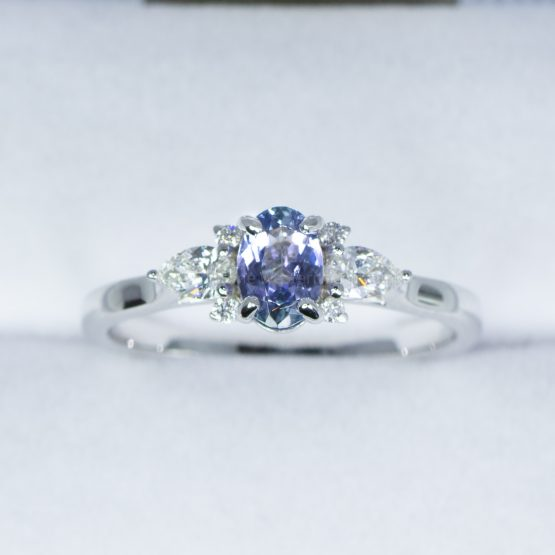 Violet Blue Sapphire and Diamond Ring in White Gold - 1982449-3